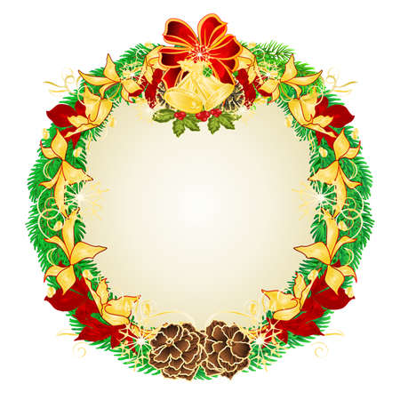 Christmas and New Year wreath decoration red and golden poinsettia spruce tree branches bow  and bells and pine cones vintage vector illustration editable hand draw Stock Illustratie