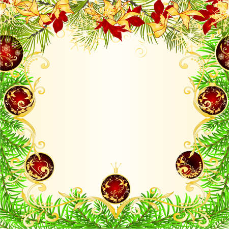 Christmas and New Year decoration frame red Christmas ornaments  golden and red poinsettia  and fir tree branch  and  snowflakes vintage vector illustration editable hand draw Stock Illustratie