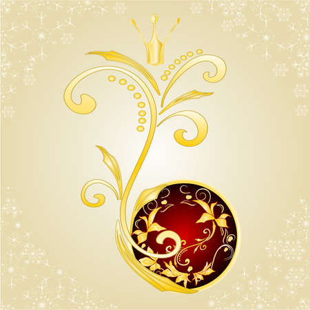 Christmas and New Year decorative golden ornaments  and crown and   red balls   with festive poinsettia vintage vector illustration editable hand draw