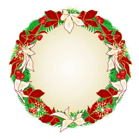 Christmas and New Year wreath  decoration red and white poinsettia spruce tree branches and golden snowflakes vintage vector illustration editable hand draw