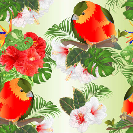 Seamless texture tropical funny bird  with tropical flowers   Strelitzia and pink and white hibiscus   palm,philodendron and Schefflera and Monstera watercolor vintage vector illustration  editable hand draw