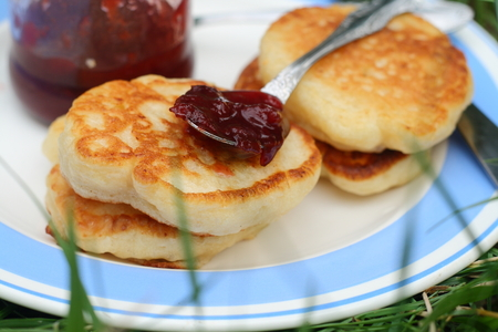 pancake week: Serve pancakes with jam in a plate for breakfast