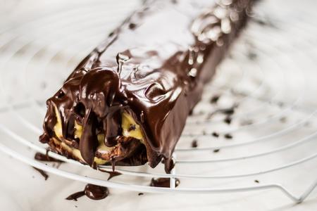 yule: Chocolate roulade with lemon Kurd watered dark chocolate.
