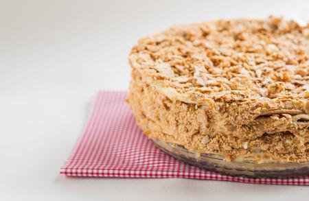 round cake napoleon on a white background.