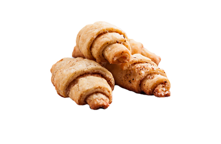 crescent: sand crescent rolls on isolated.