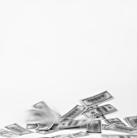 Falls of dollars on a white background black and white.