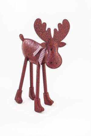 Christmas red vintage moose deer with a scarf isolated.