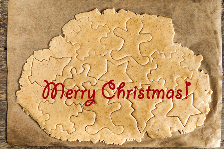 roll out: Roll out the dough cut out Christmas shapes, text, inscription.