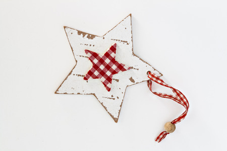 Wooden star in the style shabby isolated. Stock Photo