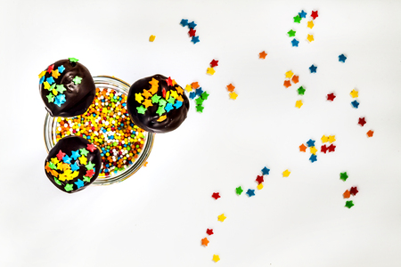 pop cake with colored sprinkles top view. Stock Photo
