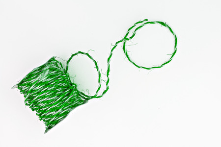 green twine in a roll isolated. Stock Photo
