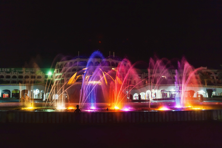 The colorful of fountain on the lake at night. Egypt. Hurghada. Hotel Golden 5, October 9, 2016 Editorial