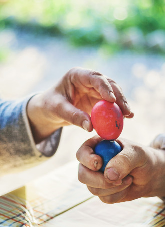 beating of easter eggs. In the hands of the eggs against each other. On a green blurred background.