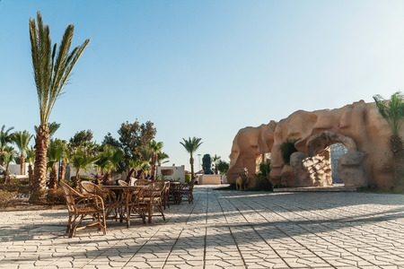 Hurghada, Egypt - October 9, 2016: View of the hotel grounds, a restaurant and an amphitheater.