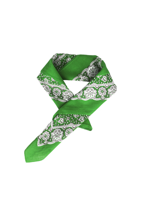 A green bandana with a pattern, isolated.