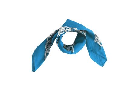 Blue, light blue kerchief-bandana with a pattern, isolated. Stock Photo