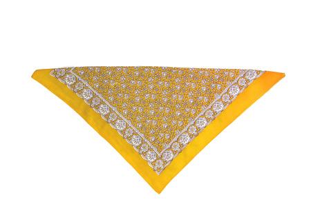 Yellow kerchief-bandana with a pattern, isolated. Stock Photo