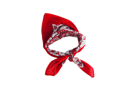 Red kerchief bandana with a pattern, isolated.