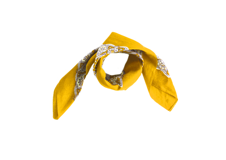 Yellow kerchief-bandana with a pattern, isolated