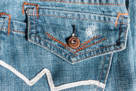 Jeans close-up, old, pocket back, front, crumpled, ragged Stock Photo