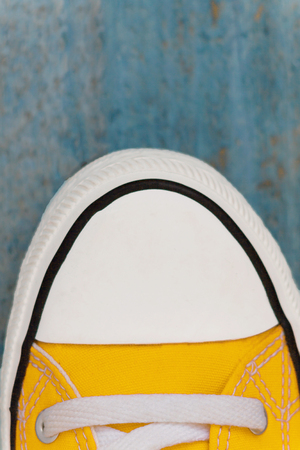 etro sneaker sock, close-up, on a blue wooden background. Stock Photo