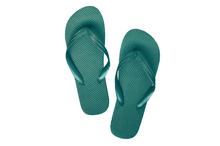 flip flops: Green-turquoise rubber flip flops, isolated on white background. Stock Photo