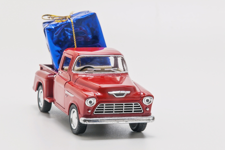 retro car pickup with  gift box isolated.