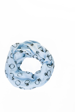 colored with trendy pattern ring scarf-snood, isolated on white background. Banque d'images