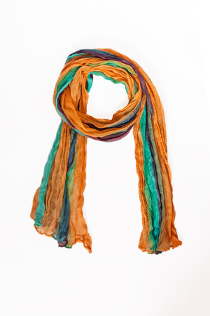 colored patterned scarf, neckerchief isolated on white background. Foto de archivo