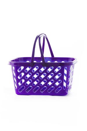 Empty shopping basket isolated on white background.