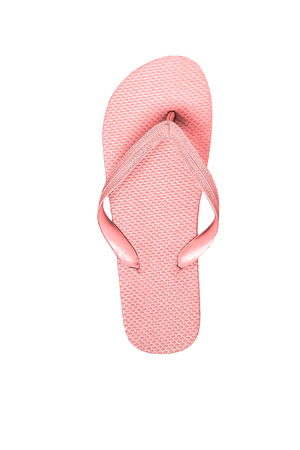 Pink rubber flip flops, isolated on white background. 版權商用圖片