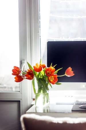 Red tulips in a vase stand near a computer monitor. The concept of spring decor on the desktop in your home office Фото со стока