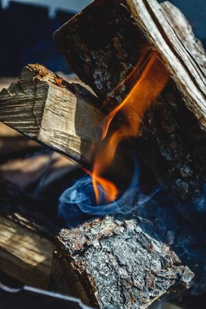 Only he took appeared the fire among the wood-fire in the grill.