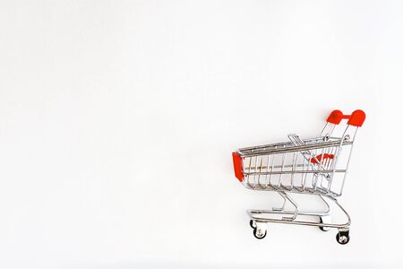 shopping cart isolated on white background, side view.