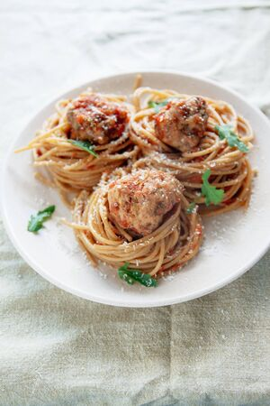 Original Italian Spaghetti With Meatballs In Tomato Sauce. Stockfoto