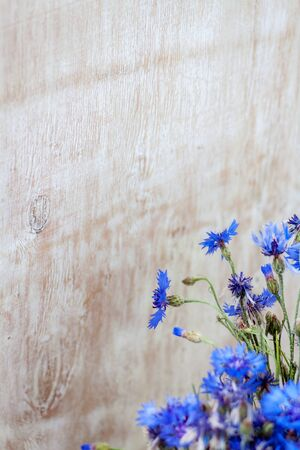 blue flowers of cornflowers on a wooden light background. High resolution. Banner. Close-up Stock fotó