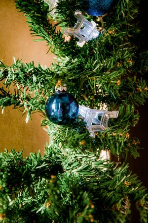 glass ball and decorations on Christmas tree,eiffel tower garland. Foto de archivo - 130757682