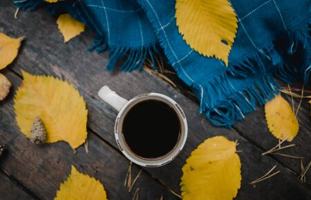 On a old wooden table in the autumn park is a cup of tea-coffee. A blue warm plaid scarf is scattered with yellow leaves and pine cones. Top view, blurred. Autumn warm dark mood, copy space. Reklamní fotografie