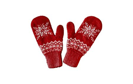 pair of reds knitted mittens with christmas pattern isolated on white background. Collage of different mittens.
