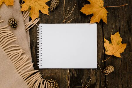 White blank notebook and pen on a dark background with a scarf, plaid and a cup, autumn yellow leaves and pine cones around. View from above. flat lay, in blur. Copy space.