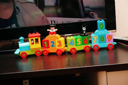 toy multi-colored children's train with numbers.