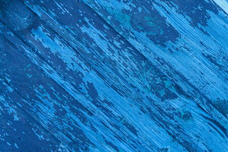 Wooden background from old boards, color trend 2020, classic blue