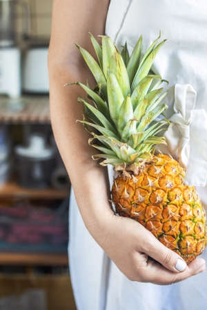 cropped young woman in a white cook apron holding a ripe and juicy pineapple in her hands. Фото со стока
