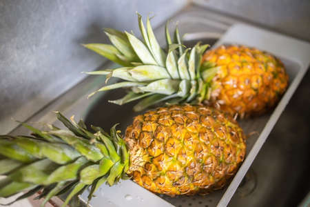 two ripe and juicy pineapples lie in the dryer after washing. Фото со стока