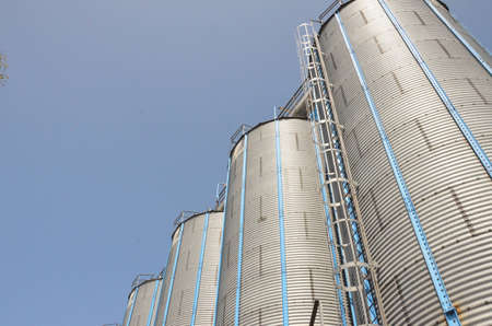 Silo with blue sky photo