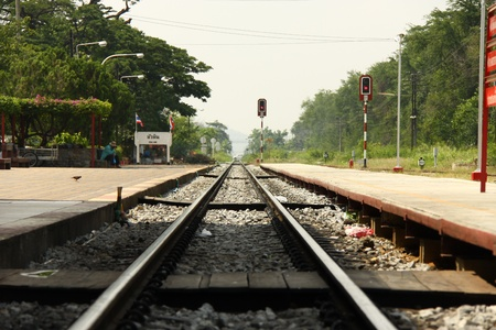 Railway at Hua Hin Station, Thailand Editorial