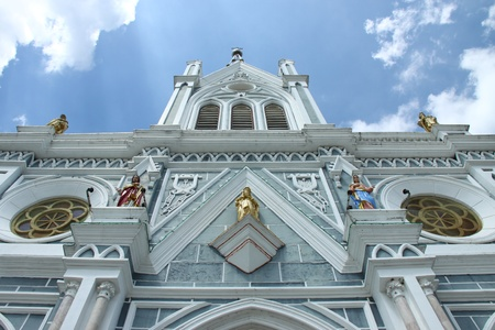 spiritual journey: Front view of White Cathedral church, Samut Songkhram, Thailand