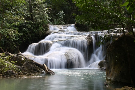 waterfall in Kanchanaburi, Thailand Stock Photo