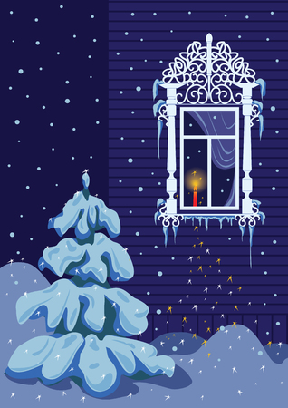 window curtains: On the night of Christmas a candle burns on the window sill. It is snowing.