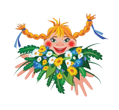 tress: The cheerful little girl with a bunch of flowers. Illustration